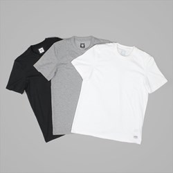 ADIDAS 3 PACK OF T-SHIRTS BLACK WHITE GREY