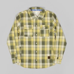 ADIDAS SKATE LONG SLEEVE DWR FLANNEL SHIRT DARK CARGO