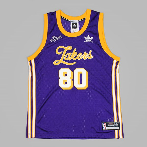 quality design b5547 aaa51 ADIDAS X THE HUNDREDS X LA LAKERS JERSEY PURPLE