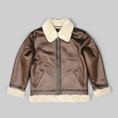 ALPHA INDUSTRIES B3 FL FAUX LEATHER JACKET BROWN