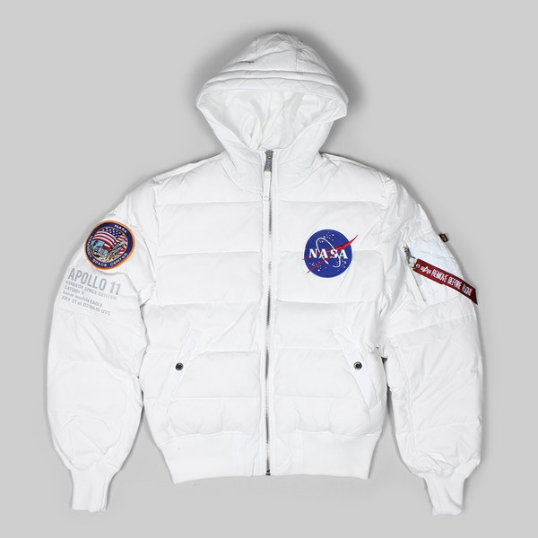 ALPHA INDUSTRIES HOODED PUFFER APOLLO 11 JACKET WHITE