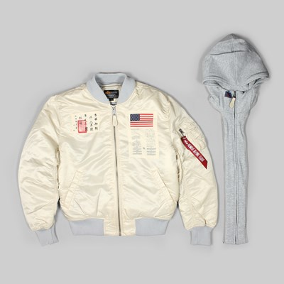 ALPHA INDUSTRIES MA-1 D-TEC BLOOD CHIT JACKET VINTAGE WHITE