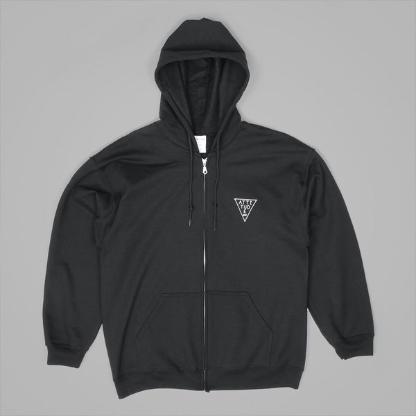 ATTITUDE TRIANGLE EMB ZIP HOOD BLACK