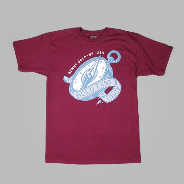 BENNY GOLD COMPASS TEE BURGUNDY