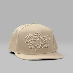 BILLIONAIRE BOYS CLUB SCRIPT LOGO SNAPBACK CAP OXFORD TAN