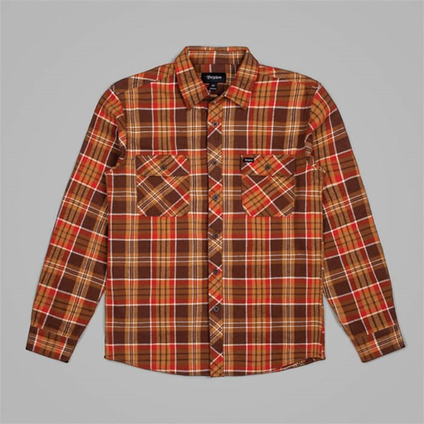 BRIXTON BOWERY FLANNEL SHIRT BROWN COPPER