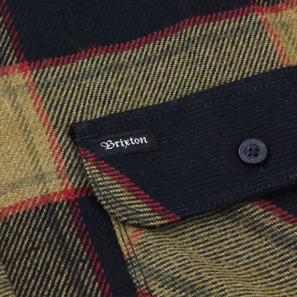 BRIXTON BOWERY LS FLANNEL SHIRT BLACK-GOLD