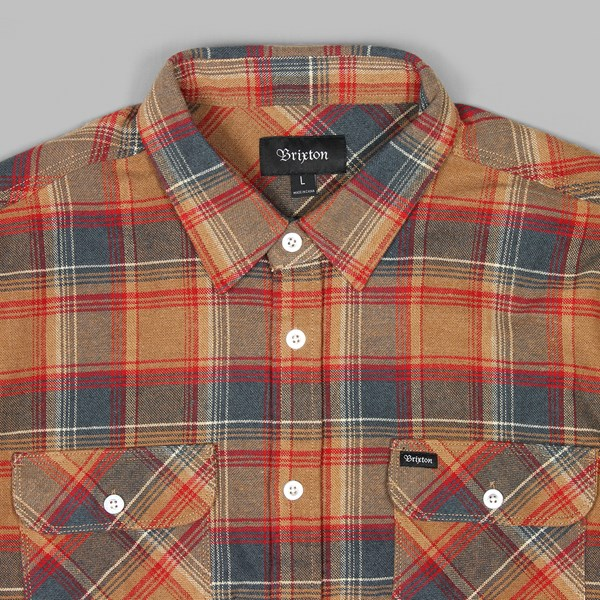 BRIXTON BOWERY LS FLANNEL SHIRT NAVY COPPER