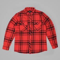 BRIXTON BOWERY LS FLANNEL SHIRT RED-BLACK