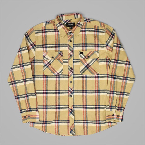 BRIXTON BOWERY LS FLANNEL SHIRT TAN PLAID
