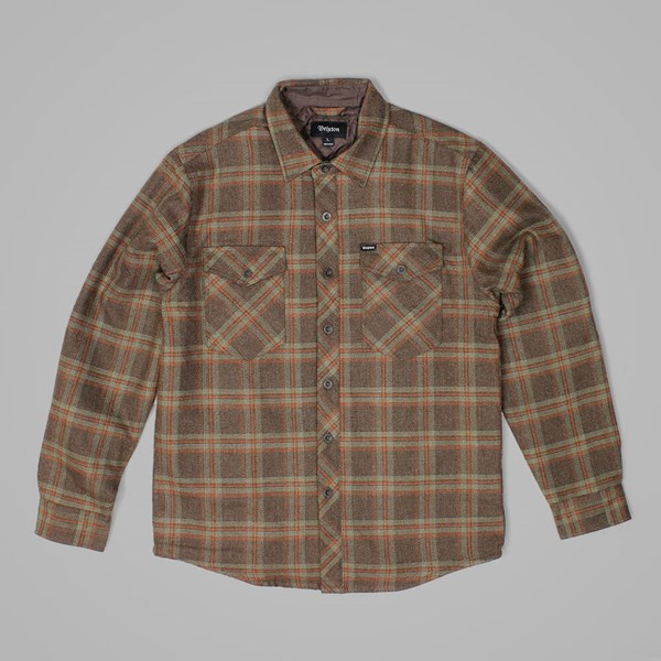 BRIXTON MANCHESTER QUILTED LS FLANNEL SHIRT BROWN