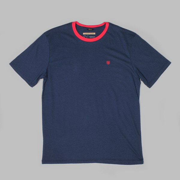 BRIXTON 'UNION' B SHIELD SS PREMIUM TEE NAVY RED