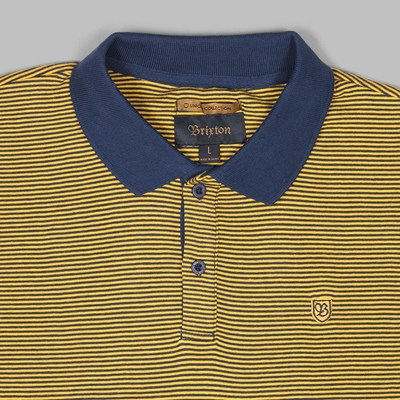 BRIXTON 'UNION' JOHNSTON SS POLO NAVY GOLD