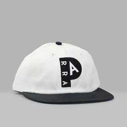 BY PARRA '2 TONE P' 6 PANEL CAP OFF WHITE BLACK