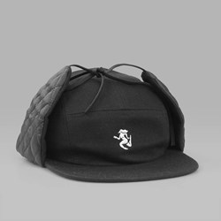 BY PARRA 5 PANEL EAR FLAP HAT BLACK