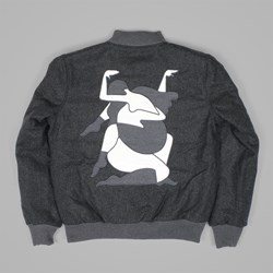 BY PARRA ALL THAT WOOL VARSITY JACKET CHARCOAL