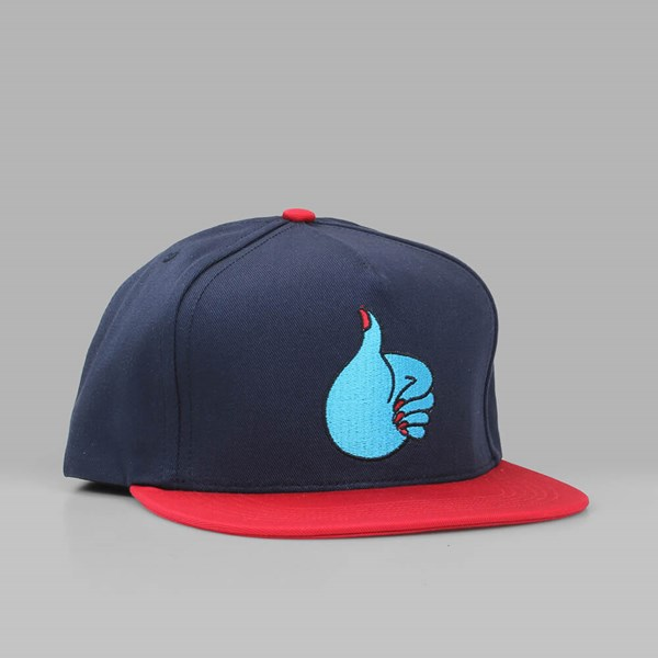 BY PARRA 'THUMBS UP' 5 PANEL SNAPBACK NAVY RED