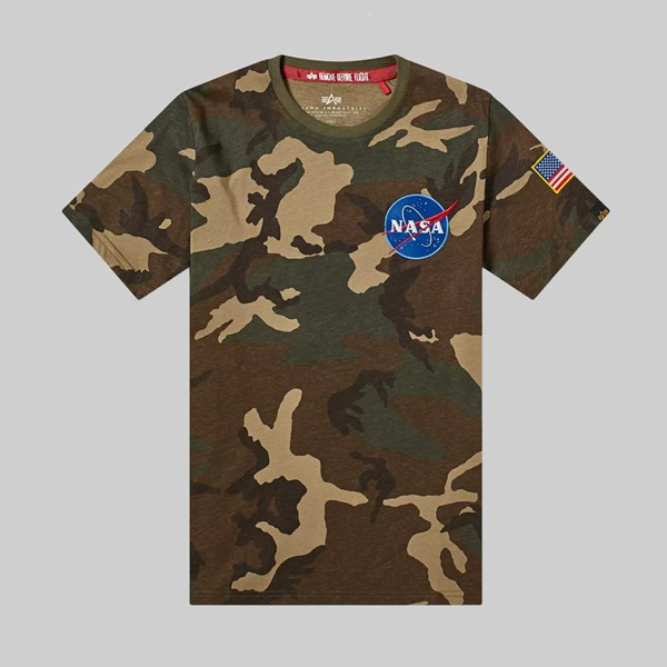 ALPHA INDUSTRIES SPACE SHUTTLE TEE WOODLAND CAMO