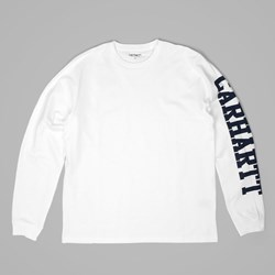 CARHART COLLEGE LEFT LS T SHIRT WHITE NAVY