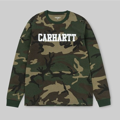 CARHARTT LS COLLAGE T-SHIRT CAMO LAUREL WHITE