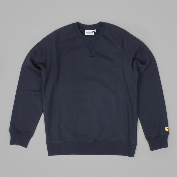 CARHARTT CHASE CREW SWEAT DARK NAVY GOLD