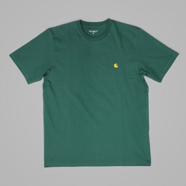 CARHARTT CHASE T SHIRT CONIFER-GOLD