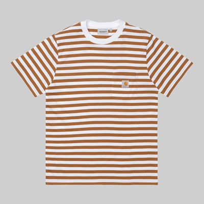CARHARTT WIP SS SCOTTY POCKET STRIPE RUM WHITE