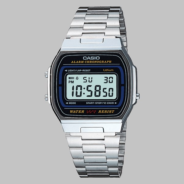 CASIO WATCH A164WA-IVES SILVER BLACK