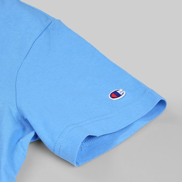 CHAMPION REVERSE WEAVE CHEST C SS TEE AZURE BLUE