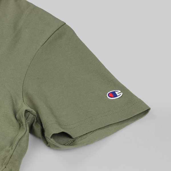 CHAMPION REVERSE WEAVE CHEST C SS TEE OLIVE GREEN