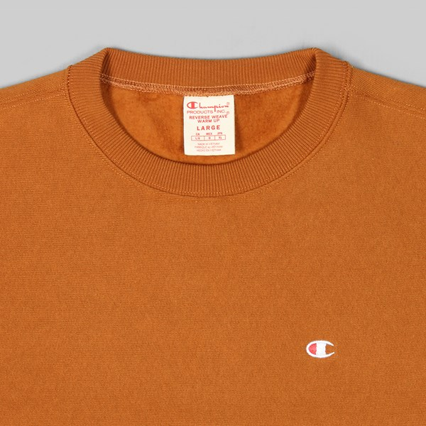 CHAMPION REVERSE WEAVE CREW SMALL C LOGO BROWN
