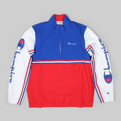 CHAMPION REVERSE WEAVE HALF ZIP RETRO TRACK TOP RED