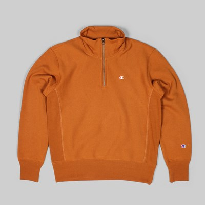 CHAMPION REVERSE WEAVE HALF ZIP SWEAT BROWN