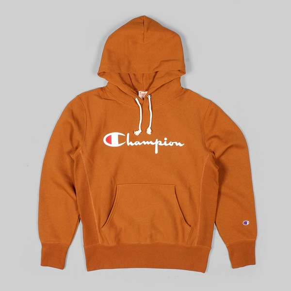 CHAMPION REVERSE WEAVE HOODED SWEAT BROWN