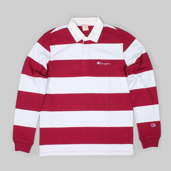 CHAMPION REVERSE WEAVE STRIPE LONG SLEEVE POLO