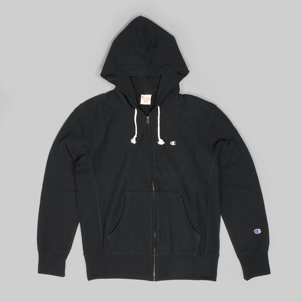 CHAMPION REVERSE WEAVE ZIP HOODED SWEAT BLACK