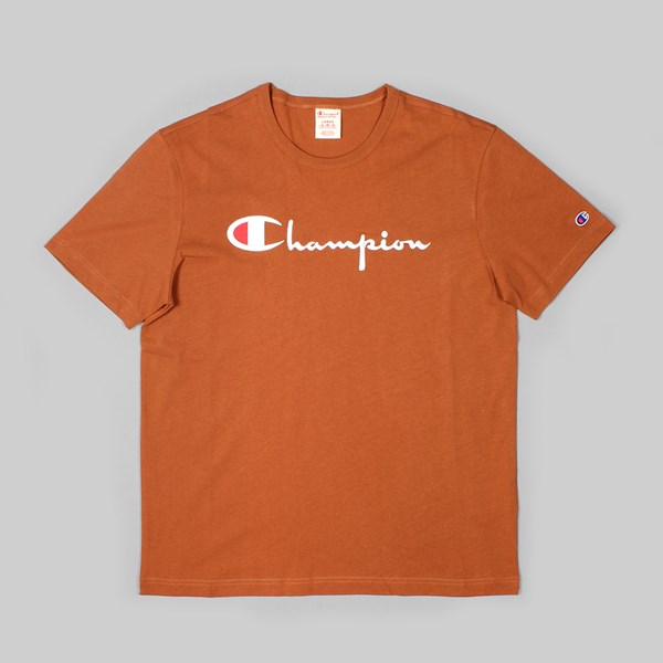 CHAMPION SS T-SHIRT CHEST LOGO BROWN