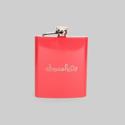 CHOCOLATE SKATEBOARDS RED SQUARE HIP FLASK  RED