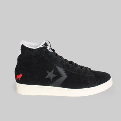CONVERSE CONS X HOPPS PRO LEATHER MID BLACK WHITE EGRET