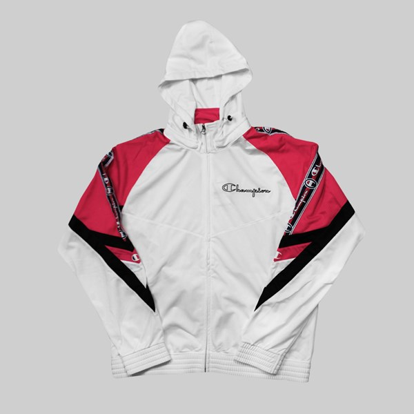 CHAMPION REVERSE WEAVE FULL ZIP TRACK TOP WHITE RED