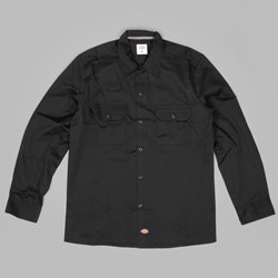 DICKIES LONG SLEEVE SLIM WORK SHIRT BLACK
