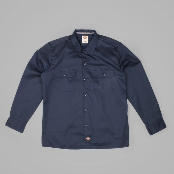DICKIES LONG SLEEVE SLIM WORK SHIRT DARK NAVY