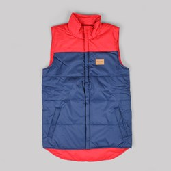 GRAND SCHEME REVERSIBLE PUFF VEST RUST NAVY
