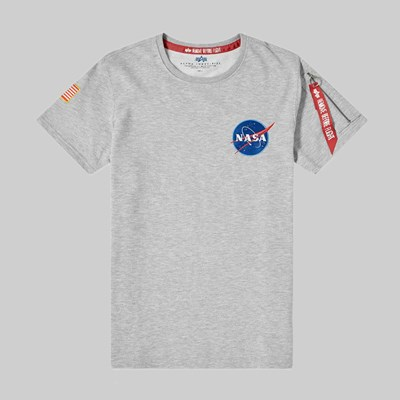 ALPHA INDUSTRIES NASA HEAVYWEIGHT T-SHIRT GREY HEATHER