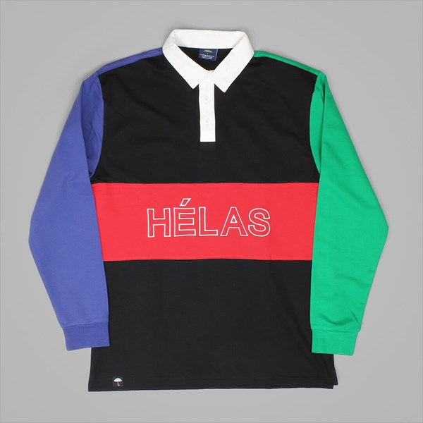 HELAS MELEMELE RUGBY LS POLO SHIRT BLACK