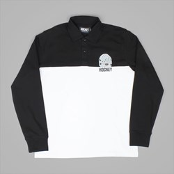 HOCKEY MASK LS POLO RUGBY SHIRT BLACK WHITE