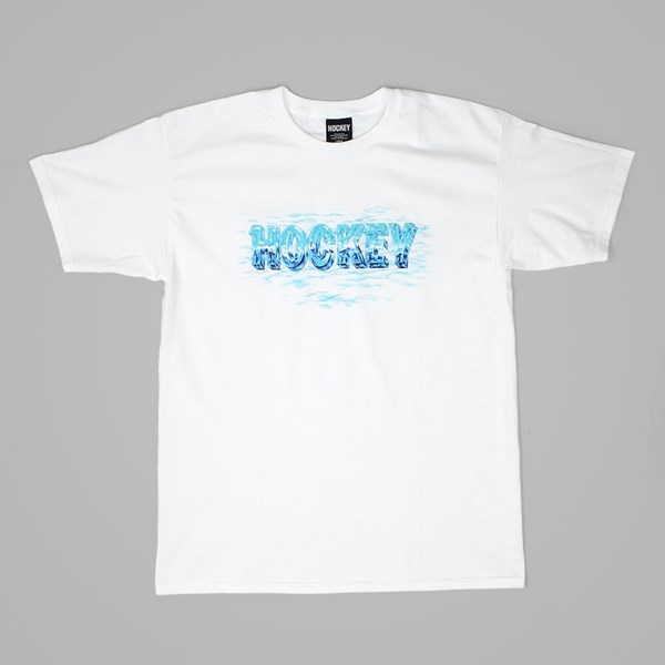 HOCKEY SKATEBOARDS ICE LOGO TEE WHITE
