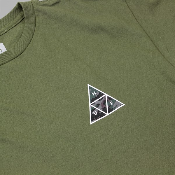 HUF MUTED MILITARY TRIPLE TRIANGLE T SHIRT MILITARY