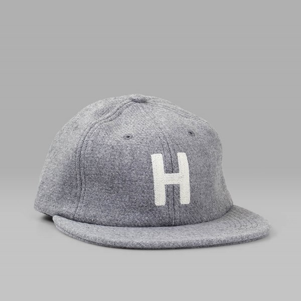 HUF BLOCK H 6 PANEL HAT GREY HEATHER