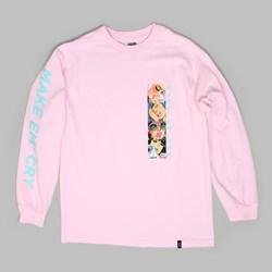 HUF MAKE EM CRY LONG SLEEVE T-SHIRT PINK